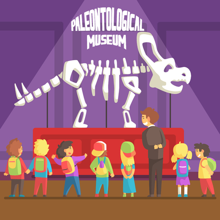 paleontology: Groop Of School Kids In Paleontology Museum Next To Triceratops Skeleton. Bright Color Vector Illustration In Funky Geometric Style.