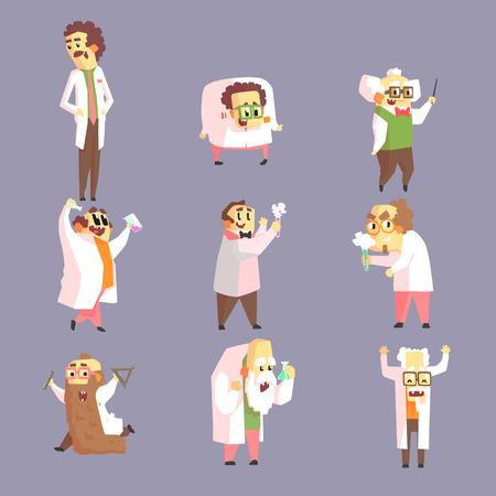 jorobado: Conjunto De enojado divertido científicos en los dibujos de caracteres batas de laboratorio sobre fondo morado En estilo geométrico divertido Vectores