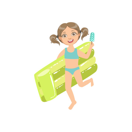 enfant maillot de bain: Girl Walking Holding Air Bed And Ice-cream On A Stick Simple Design Illustration In Cute Fun Cartoon Style Isolated On White Background