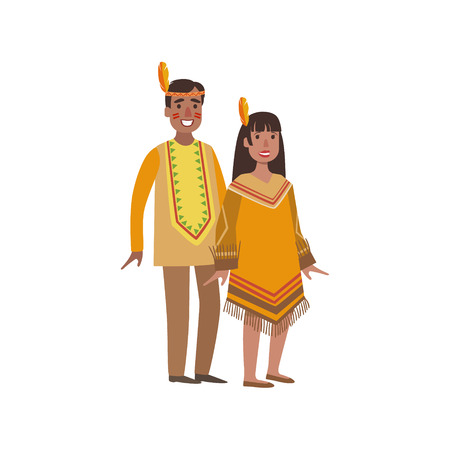 Couple In Nothern America Indians National Clothes Simple Design Illustration In Cute Fun Cartoon Style Isolated On White Background Illustration