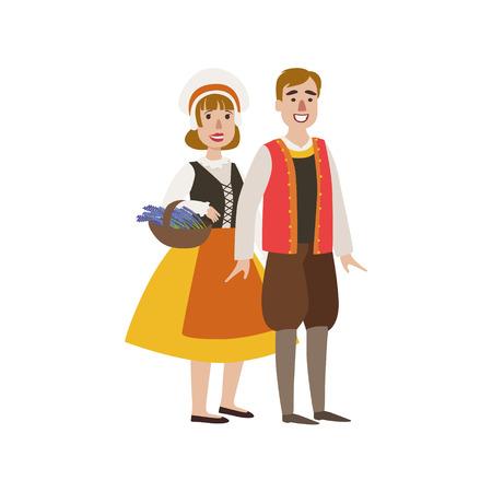 프랑스어 국립 옷에서 부부는 귀여운 재미있는 만화 스타일에서 간단한 디자인 일러스트 레이 션 흰색 배경에 고립