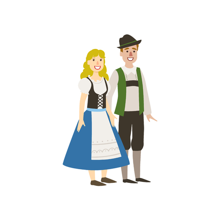 Couple In German National Clothes Simple Design Illustration In Cute Fun Cartoon Style Isolated On White Background
