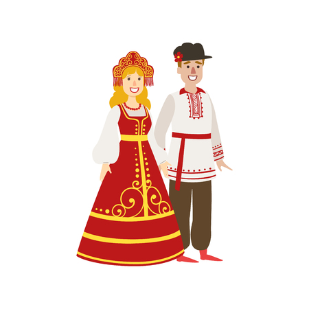 white russian: Couple In Russian National Clothes Simple Design Illustration In Cute Fun Cartoon Style Isolated On White Background