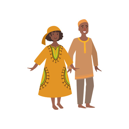 Couple In Maroccan National Clothes Simple Design Illustration In Cute Fun Cartoon Style Isolated On White Background