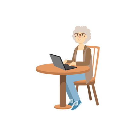 lap top: Old Woman Working On Lap Top Bright Color Cartoon Simple Style Flat Vector Sticker Isolated On White Background
