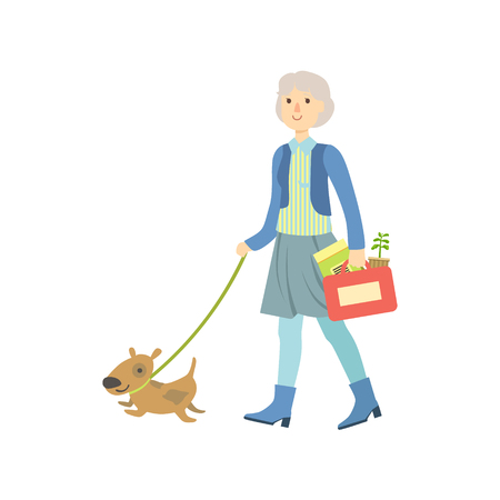 dog walking: Old Lady Walking A Dog Bright Color Cartoon Simple Style Flat Vector Sticker Isolated On White Background