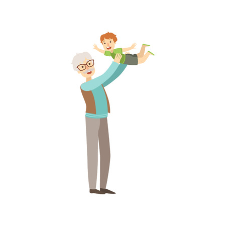 grandchild: Old Man Playing With His Grandson Bright Color Cartoon Simple Style Flat Vector Sticker Isolated On White Background Illustration