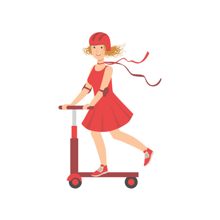 enjoying: Woman In Red Dress Riding A Scooter Illustration Isolated On White Background. Simplified Cartoon Character Flat Vector Icon