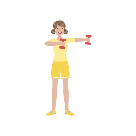 Woman Doing Upper Arm Exercise In Gym Illustration Isolated On White Background. Simplified Cartoon Character Flat Vector Icon Illustration