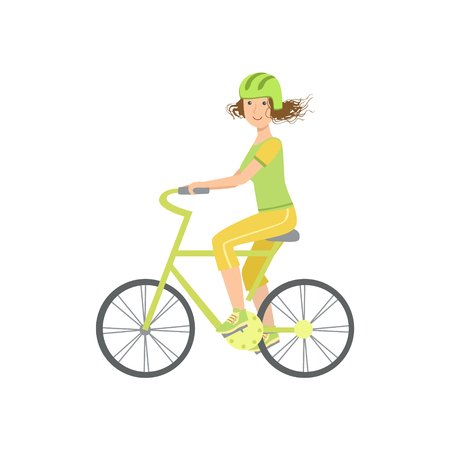 simplified: Woman Riding A Bicycle In Helmet Illustration Isolated On White Background. Simplified Cartoon Character Flat Vector Icon Illustration