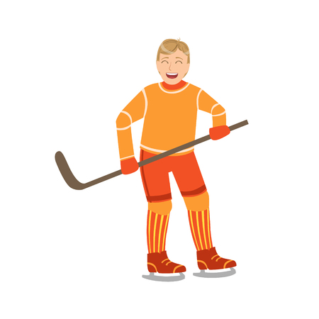 simplified: Guy Playing Hockey In Orange Uniform Illustration Isolated On White Background. Simplified Cartoon Character Flat Vector Icon