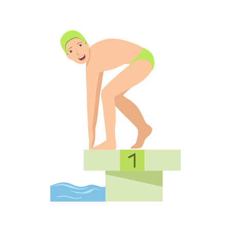 Man Getting Ready For A Swim In Pool Illustration Isolated On White Background. Simplified Cartoon Character Flat Vector Icon Ilustração