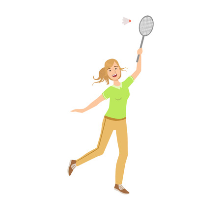 shuttlecock: Woman Playing Badminton With Shuttlecock Illustration Isolated On White Background. Simplified Cartoon Character Flat Vector Icon