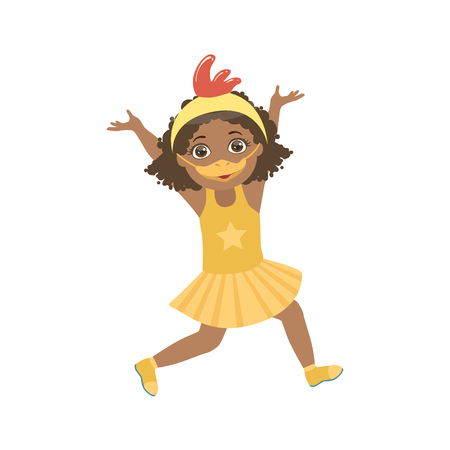 simple girl: Girl Wering Duck Animal Costume Simple Design Illustration In Cute Fun Cartoon Style Isolated On White Background Illustration