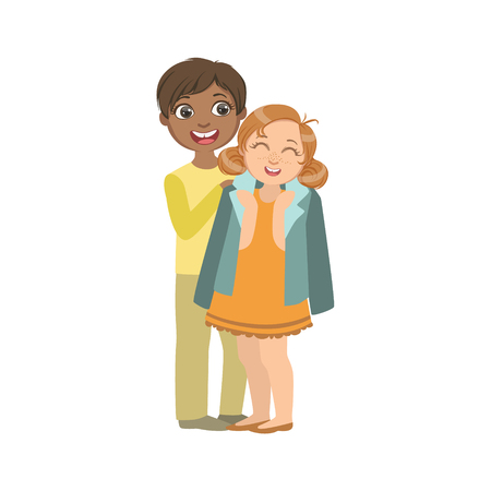 simple girl: Boy Putting His Coat Around Girl s Shoulders Bright Color Cartoon Simple Style Flat Vector Sticker Isolated On White Background Illustration