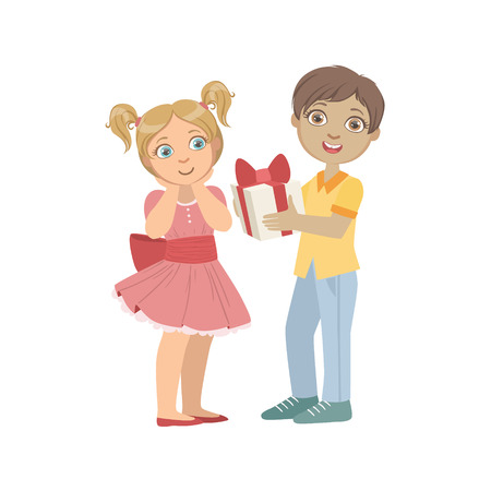 wooing: Boy Giving A Present To A Girl With Ponytails Bright Color Cartoon Simple Style Flat Vector Sticker Isolated On White Background Illustration