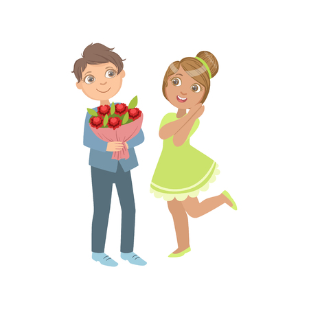simple girl: Boy Giving Flower Bouquet To A Girl Bright Color Cartoon Simple Style Flat Vector Sticker Isolated On White Background