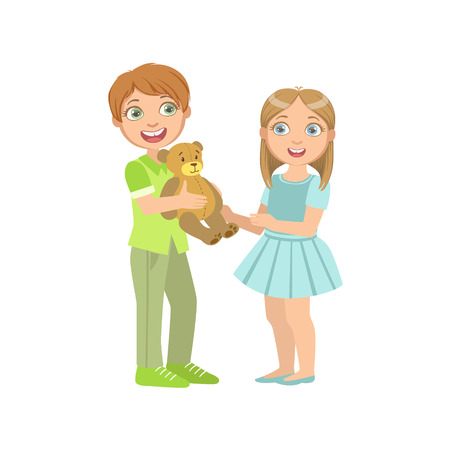 simple girl: Boy Presenting A Teddy Bear To A Girl Bright Color Cartoon Simple Style Flat Vector Sticker Isolated On White Background
