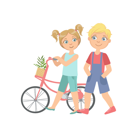simple girl: Boy And Girl Walking With The Bicycle Together Bright Color Cartoon Simple Style Flat Vector Sticker Isolated On White Background Illustration