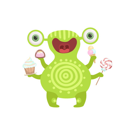 attributes: Green Tattooed Friendly Monster With Sweets Cute Childish Sticker. Flat Cartoon Colorful Alien Character With Party Attributes Isolated On White Background. Illustration