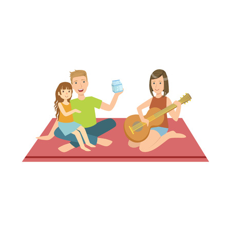 Family On Picnic With Mom Playing Guitar Bright Color Cartoon Simple Style Flat Vector Clipart Isolated Illustration