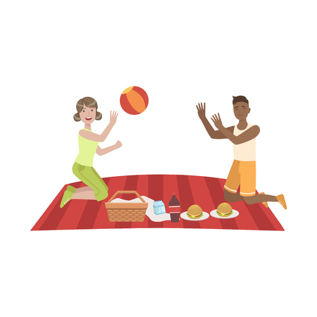 woman drinking milk: Couple Playing Ball On Picnic Bright Color Cartoon Simple Style Flat Vector Clipart Isolated Illustration Illustration