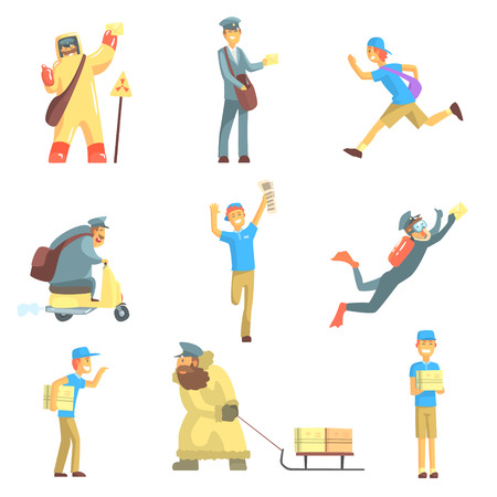 radiation protection suit: Messengers And Courier Men At Work Set Of Graphic Design Cool Geometric Style Isolated Drawings On White Background