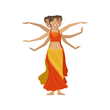 Women Performing 1000 Arms Indian Dance Country Cultural Symbol Illustration. Simplified Cartoon Style Drawing Isolated On White Background Vetores