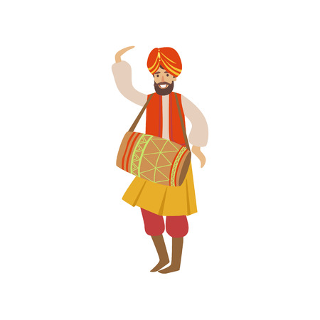 simplified: Man In Indian National Outfit Playing Drum Country Cultural Symbol Illustration. Simplified Cartoon Style Drawing Isolated On White Background