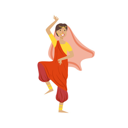 Woman In Veil And Wide Trousers Dancing In Hindu Theatre Country Cultural Symbol Illustration. Simplified Cartoon Style Drawing Isolated On White Background