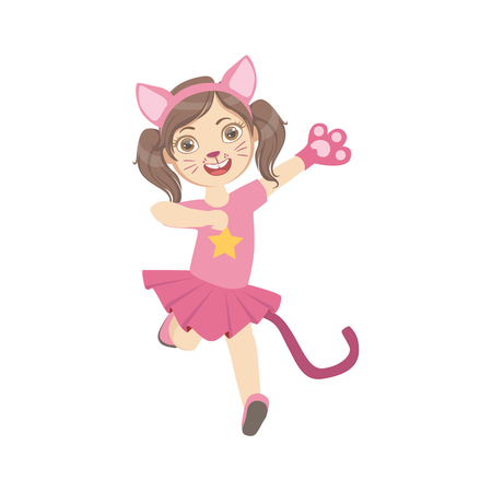up skirt: Girl Wearing Cat Animal Costume Simple Design Illustration In Cute Fun Cartoon Style Isolated On White Background