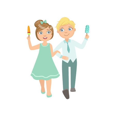 simple girl: Boy Ad Girl On A Date Eating Ice-Cream Bright Color Cartoon Simple Style Flat Vector Sticker Isolated On White Background