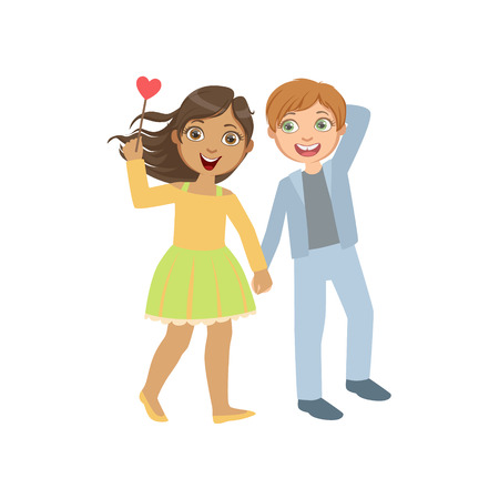 Boy And Girl In Love Walking Together Bright Color Cartoon Simple Style Flat Vector Sticker Isolated On White Background