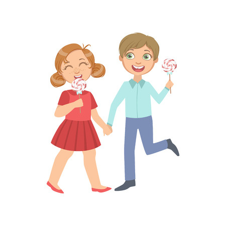 simple girl: Boy And Girl On A Date Eating Candy Bright Color Cartoon Simple Style Flat Vector Sticker Isolated On White Background Illustration
