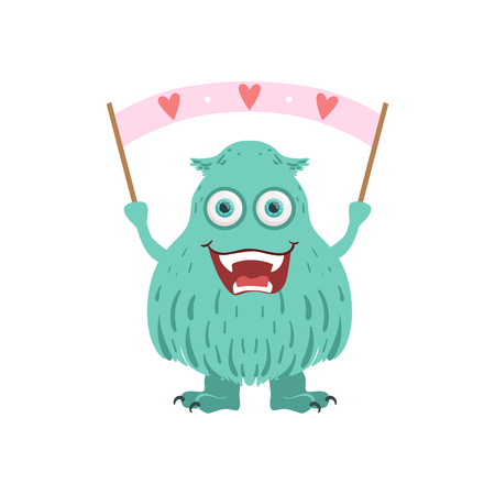 furry: Furry Turquoise Friendly Monster With Banner Cute Childish Sticker. Flat Cartoon Colorful Alien Character With Party Attributes Isolated On White Background.