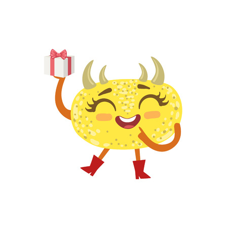 attributes: Yellow Friendly Monster With Hornes Wearing Red Boots Cute Childish Sticker. Flat Cartoon Colorful Alien Character With Party Attributes Isolated On White Background. Illustration