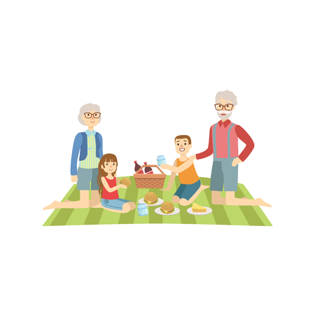 Grandparents With Kids Having Picnic Bright Color Cartoon Simple Style Flat Vector Clipart Isolated Illustration