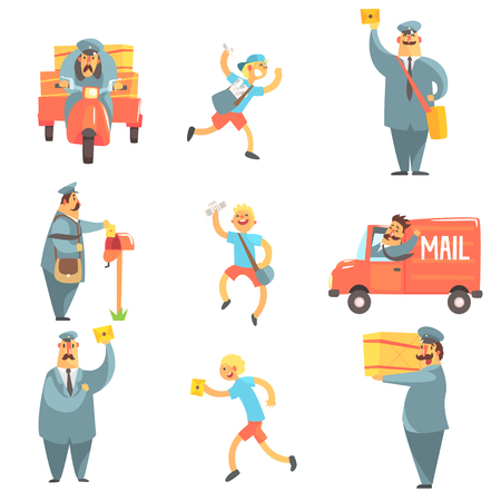 mail man: Mail Man And Courier Work Process Set Of Graphic Design Cool Geometric Style Isolated Drawings On White Background Illustration