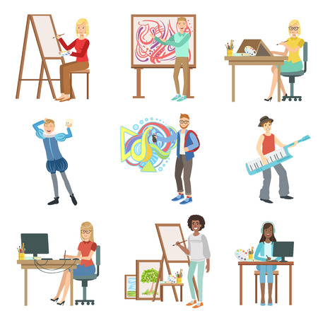 actor: Different Artistic Professions Set Of Flat Simplified Childish Style Cute Vector Illustrations Isolated On White Background