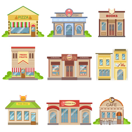 Commerciële Gebouwen Exterior Design Set Van Kleurrijke Gedetailleerde Stickers In Cartoon Manner Flat Vector illustraties geïsoleerd op witte achtergrond
