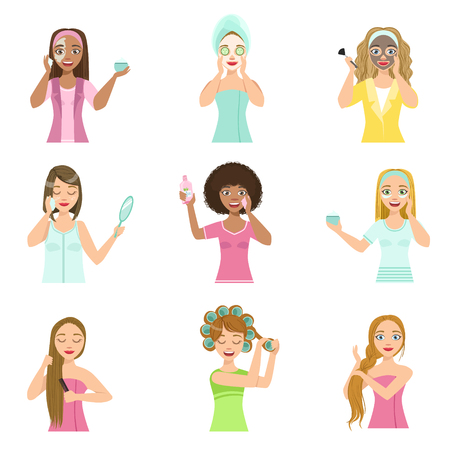 preening: Girls Preening Up Using Masks And Creams Set Of Isolated Portraits In Simple Cute Vector Design Style On White Background