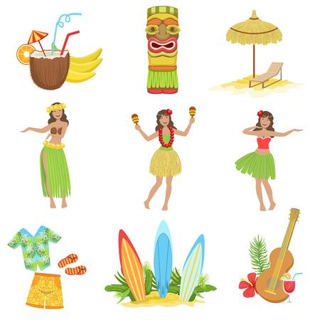 Hawaiian de vacaciones Conjunto de símbolos clásicos .. plana aislado Vector iconos de las representaciones tradicionales de Hawai.