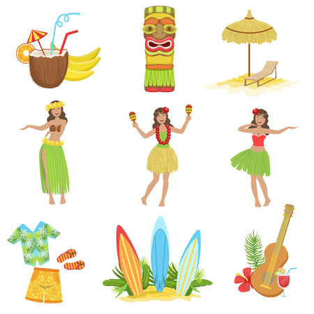 Hawaiian Vacation Set Of Classic Symbols.. Isolated Flat Vector Icons With Traditional Hawaiian Representations. Illustration