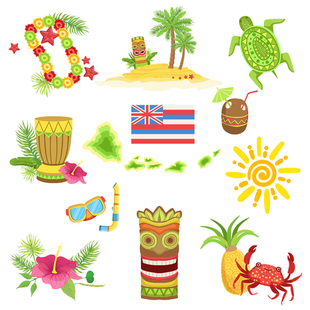 representations: Hawaii Beach Vacation Related Set Of Objects. Isolated Flat Vector Icons With Traditional Hawaiian Representations.