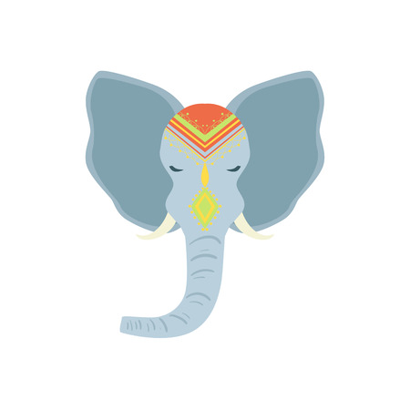 vedic: Sacred Indian Elephant Head Country Cultural Symbol Illustration. Simplified Cartoon Style Drawing Isolated On White Background