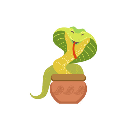 Charmed Cobra Snake Coming Out Of The Basket Country Cultural Symbol Illustration. Simplified Cartoon Style Drawing Isolated On White Background Illustration