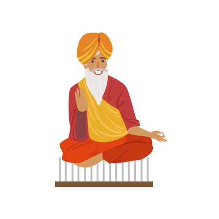 yogi: Indian Yogi Sitting On Nails Country Cultural Symbol Illustration. Simplified Cartoon Style Drawing Isolated On White Background
