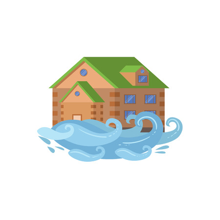 House In Flood, Natural Forces Threat Flat Vector Illustration. Insurance Case Clipart Drawing In Childish Cartoon Style. Illustration