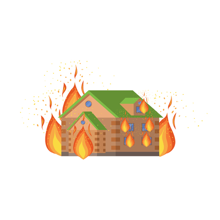natural forces: House On Fire, Natural Forces Threat Flat Vector Illustration. Insurance Case Clipart Drawing In Childish Cartoon Style. Illustration