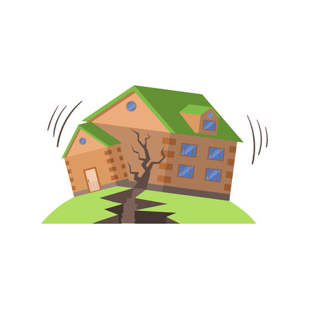 Huse In Earthquake, Natural Forces Threat Flat Vector Illustration. Insurance Case Clipart Drawing In Childish Cartoon Style.